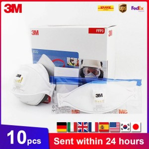 3M Aura 9332 Masks Filtration Efficiency 99% Dust-Proof Mask Sanitary With Valve Disposable 3M Original Mascarillas In Stock