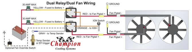 how to properly wire electric cooling fans