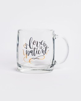 Love is patient gold mug