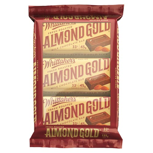 Buy Whittakers Chocolate Bar Almond Gold Slab 3pk Online