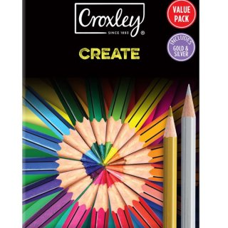CROXLEY Wood Free Crayons 12's plus Gold and Silver