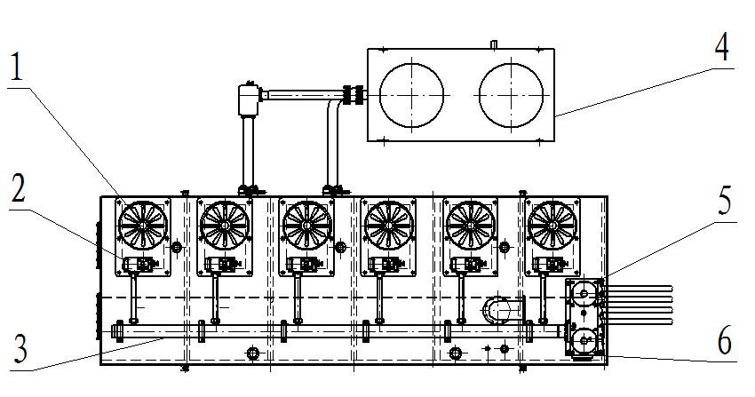 Схема конструкции гидростанции 1- блок главных электродвигателей и масляных насос 2- блок разгрузочных клапанов 3- маслособиратель 4- масляный холодогенератор 5- буферный аккумулятор 6- масляный клапанный блок