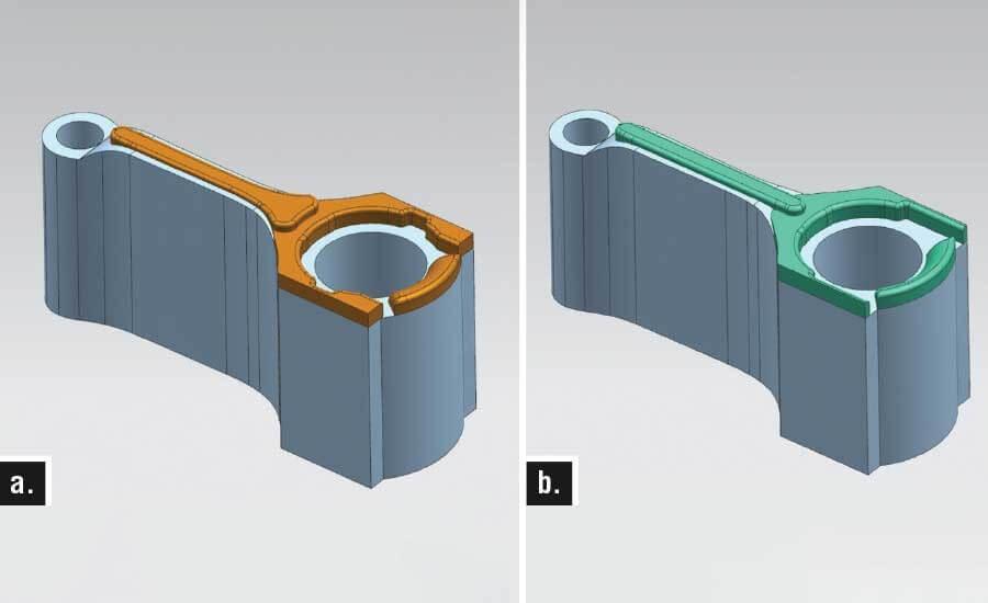 Рисунок 3. а) Оригинальная ковочная матрица; б) ковка, реконфигурированная с использованием процесса DMD
