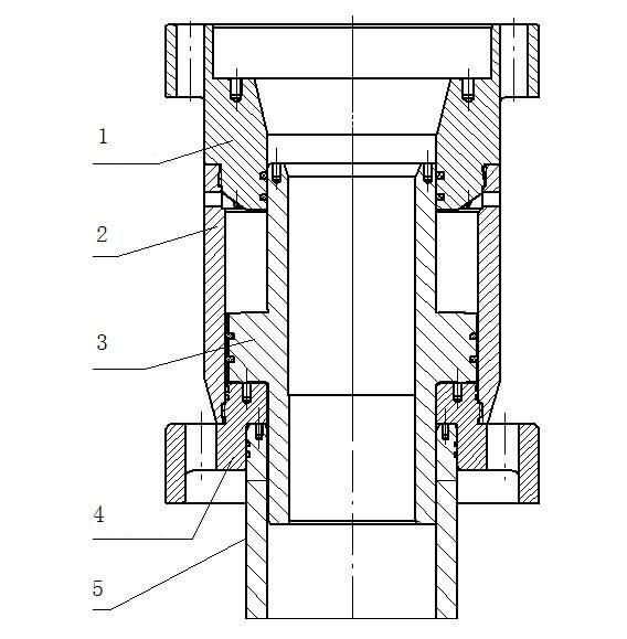 Схема буферного устройства для предотвращения удара поршня в верхнюю крышку цилиндра 1- центрирующее опорное кольцо 2- буферный цилиндр 3- буферный поршень 4- нижнее дистанционирующее опорное кольцо 5- гильза цилиндра