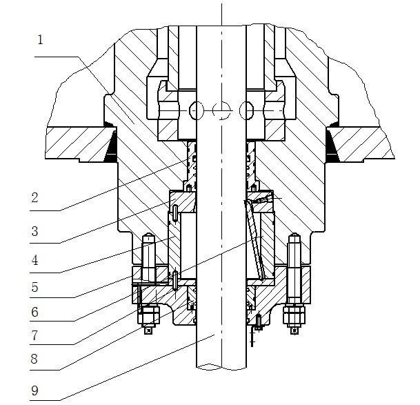 Схема устройства для предотвращения утечки масла нижнего уплотняющего отверстия 1- цилиндрическая балка 2- нижняя бронзовая втулка 3- шариковая втулка 4- нижняя втулка 5- нижний фланец 6- уплотняющая плита 7- маленький прижим 8- соединительная бронзовая втулка 9- шток