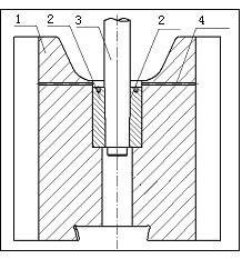 Схема соединения бабы и штока 1- баба 2- стальная втулка 3- шток 4 маслоспускное отверстие