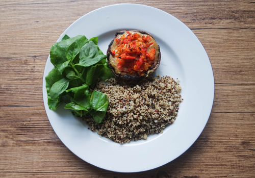 Stuffed-Mushroom-Topped-with-Special-White-Herb-Sauce-and-Spicy-Tomato-Salsa-with-quinoa-rice