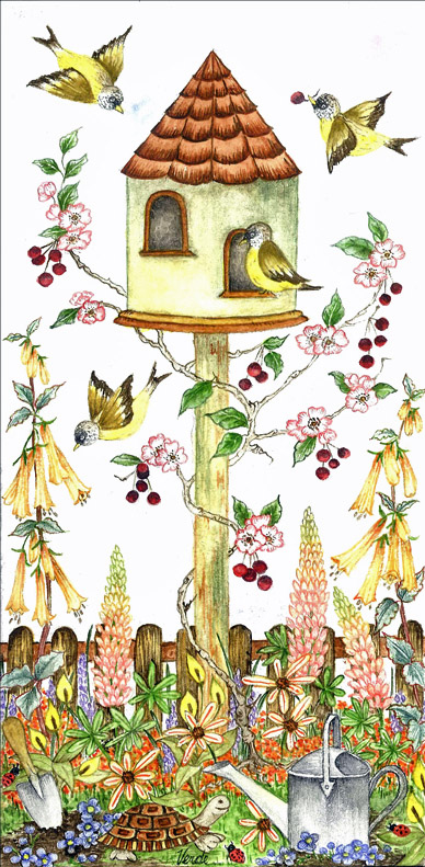 A Bird's Rest embroidery panel, ready to embroider