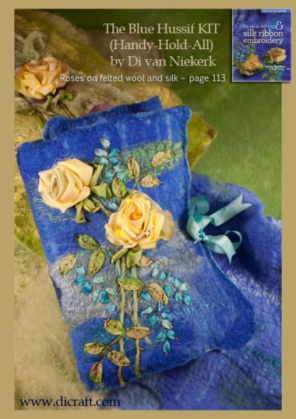 The Blue hussif or handy-hold-all. English roses on felted wool and silk