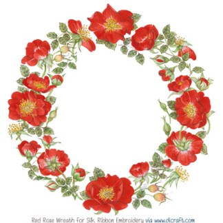 Red Rose Wreath (A5) x 2 small panels