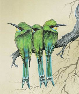 Swallow Tailed Bee-Eaters A3 (Large) embroidery panel