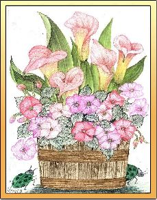 Impatiens and lilies in a pot embroidery panel, ready to embroider