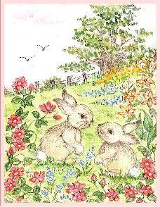 Bunnies embroidery panel, ready to embroider