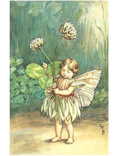 White Clover Fairy embroidery panel, ready to embroider