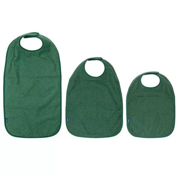 Three sizes of Seenin bib apons in green