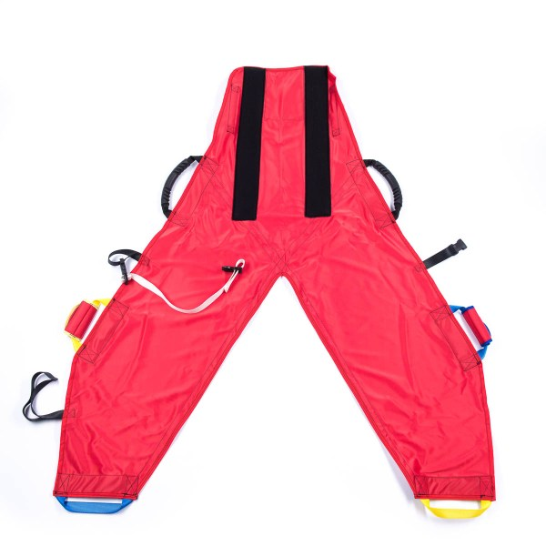 Front of red ProMove hoist sling with head support for disabled children and you adults