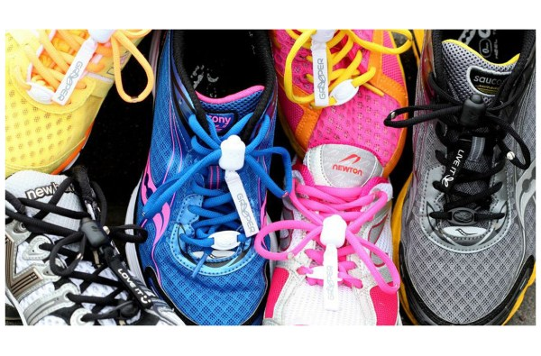 Greeper Sports shoe laces on brightly coloured shoes
