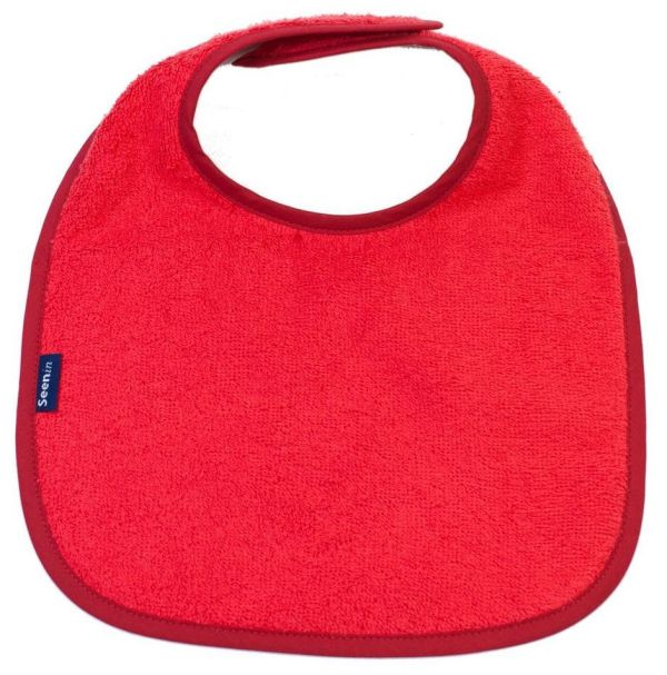 Seenin dribble bib for a disabled child in red