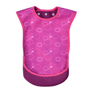Image is a photograph of the Bibetta Junior Tabard front view with a pink bubble print, on a white background