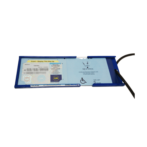 Large blue badge anti-theft device open with Blue Badge inside