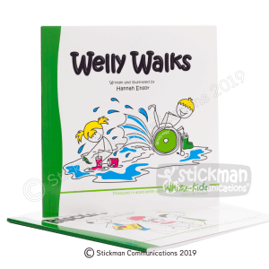 Welly Walks bookwith stickman illustrations of a blonde-haired girl and a boy with a yellow hat in a wheelchair splashing together in a puddle
