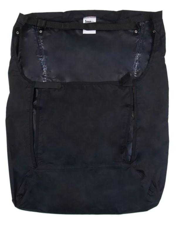 Back of black Seenin fleece wheelchair leg cover