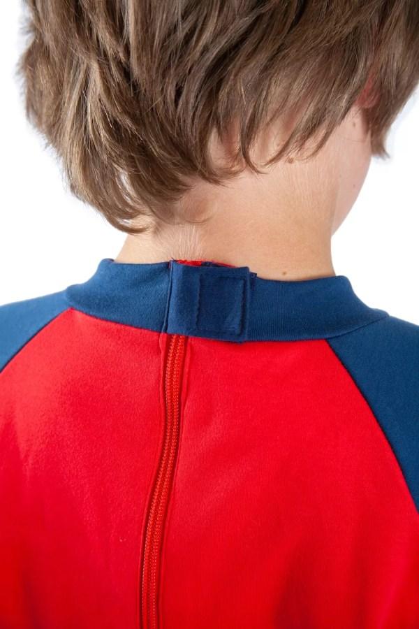 Hidden zip on the back of Seenin children's red and navy sleepsuit