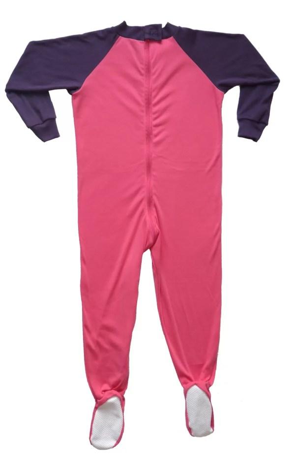 Front of Seenin children's pink and plum zip sleepsuit