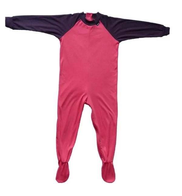 Seenin children's pink and plum zip sleepsuit