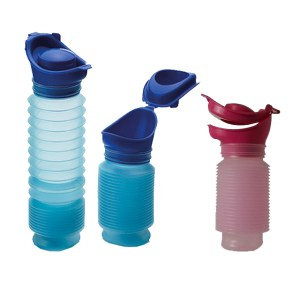 Image is a photograph of three Uriwell portable urinals, two in blue, one in pink