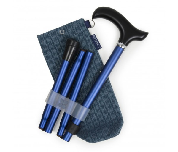Navy Walking Stick and Herringbone Bag