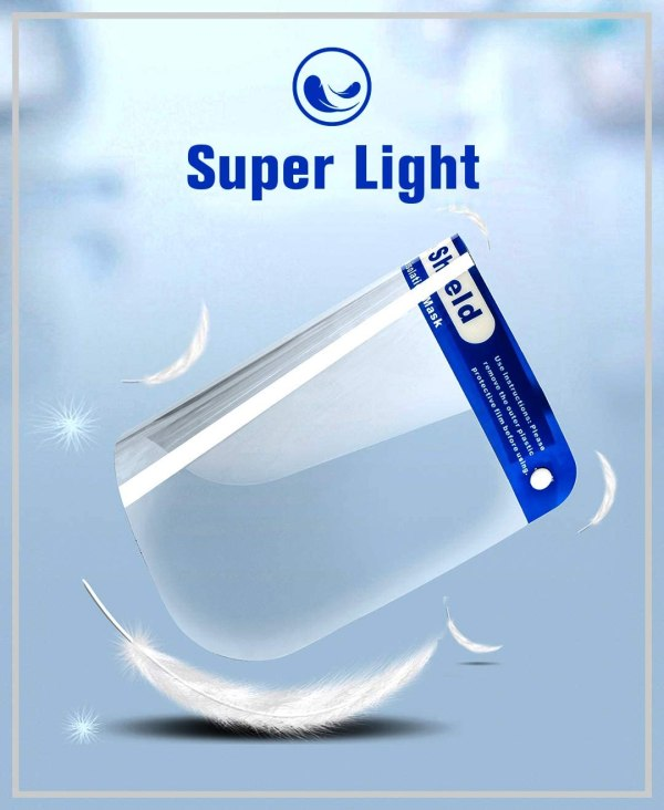 """Image is a photograph of a PPE protective face shield on a blue background, surrounded by floating feathers. Text reads """"Super light"""""""