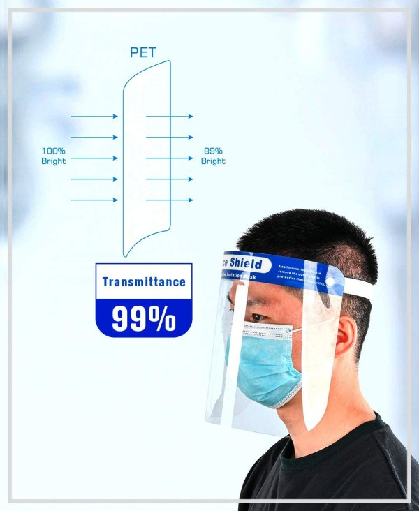 Image shows a photograph of a man in profile, wearing a plastic face visor. Next to him is an illustration which explains that 99% of light is transmitted through the transparent front of the face visor.