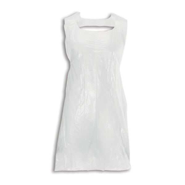 Image is a photograph of a white, polythene apron displayed as if fitted around someone's body