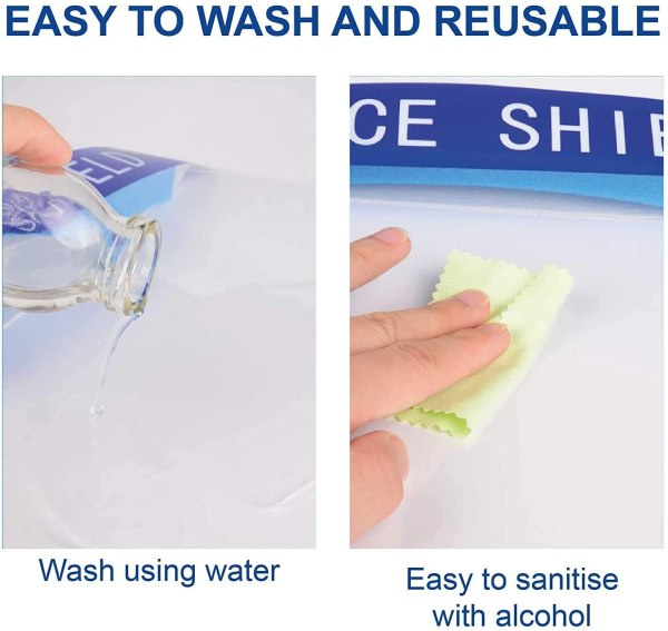 "Image shows two photographs - the first of a hand pouring water on to the face shield with text which reads ""Easy to wash and reusable - wash using water"". The second image shows a hand wiping the face shield with a small cloth, with text which reads ""Easy to sanitise with alcohol"""