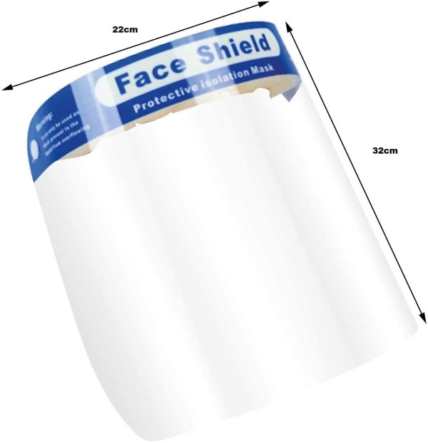 "Image is a photograph of a plastic face shield with a blue head band with text which reads ""Face Shield""."