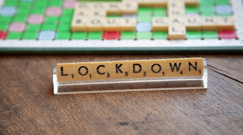Word lockdown spelt out in scrabble letters