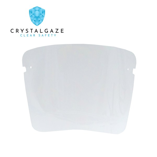 Image is a photograph of the spare visor for the Crystal Gaze invisible face shield PPE with the Crystal Gaze logo in the top left hand corner