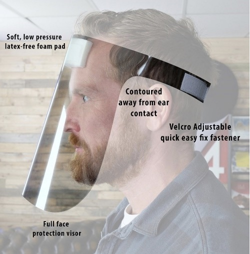 Man wearing a face shield