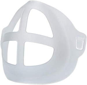 Image is a semi-opaque, white plastic breathing frame for wearing inside a face mask