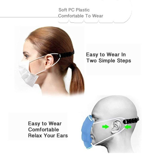 Diagram showing how mask takes stress off ears.