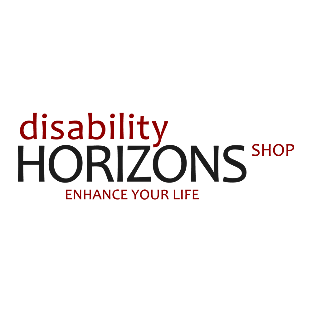 "Image is the black and red logo for the Disability Horizons shop. Text reads: ""Disability horizons shop. Enhance your life"""