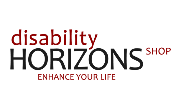 """Image is the black and red logo for the Disability Horizons shop. Text reads: """"Disability horizons shop. Enhance your life"""""""