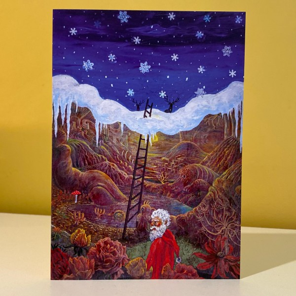 """Image is a photograph of a Peter Rudulfo Christmas card entitled """"Winter Wonderland"""""""