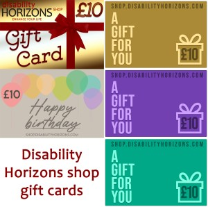 Image shows 5 different designs of digital gift card available at Disability Horizons shop