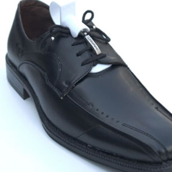 greeper assist attached to a black shoe with black greeper laces