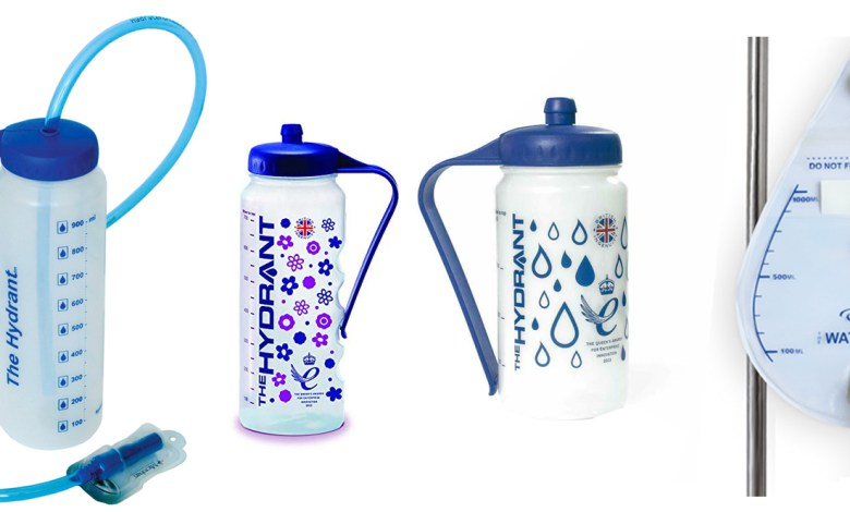 Image is a photograph of four types of Hydrate for Health drinks aids, including the Hydrant, the maternity Hydrant, the Sports Hydrant and the WaterDrop