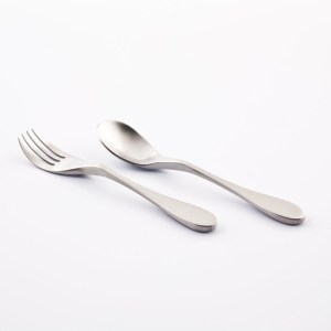 Shows the Child's knork fork and spoon on a white background