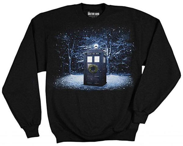 Doctor Who Snow TARDIS themed sweater
