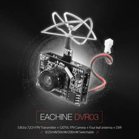 Eachine TX03 DVR AIO 5.8G 72CH 0/25mW/50mW/200mW Switchable VTX 520TVL 1/4 Cmos FPV Camera